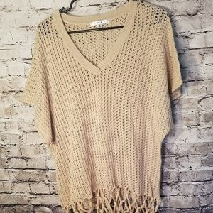 Sweater Small Style 292 Hand Knotted Fringe BOHO
